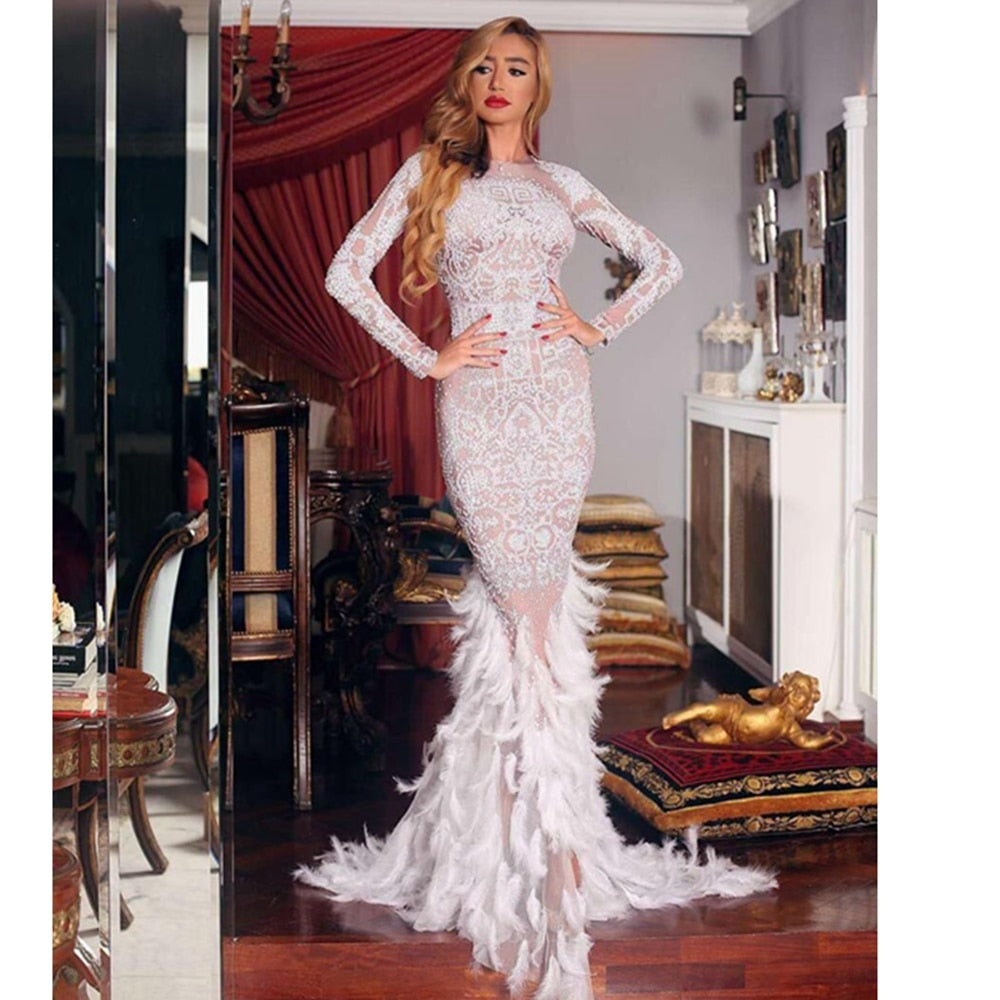 New Arrival Elegant Evening Celebrity Party Long Mermaid Feathers Black With Beige Beads Fashion Dress White 2019 Sexy Clubwear