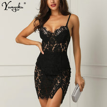 Load image into Gallery viewer, Sexy Black Lace Summer Dress women Backless Strap perspective Dress elegant vintage Night club Party dresses Vestido clothes New - Y O L O Fashion Store