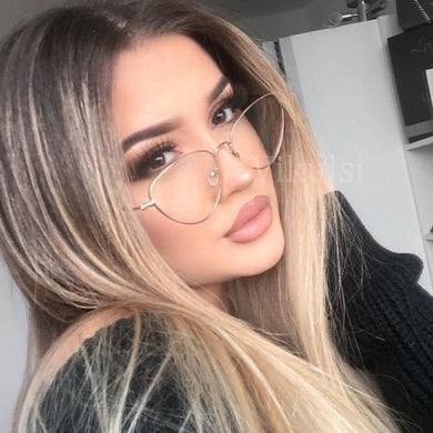 2018 Classic Cat Eye Optical Glasses Frames Women Transparent Glasses Ladies Frame Ultra Light Metal Frame Clear Lens Eyeglasses