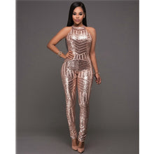 Load image into Gallery viewer, sexy Gold sequin jumpsuit mesh Romper Summer Women Glitter Halter Open Back Party bodycon jumpsuit body ladies Overalls Clubwear - Y O L O Fashion Store