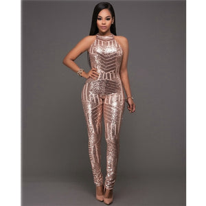 sexy Gold sequin jumpsuit mesh Romper Summer Women Glitter Halter Open Back Party bodycon jumpsuit body ladies Overalls Clubwear - Y O L O Fashion Store