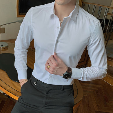 2019 New Fashion Cotton Long Sleeve Shirt Solid Slim Fit Male Social Casual Business White Black Dress Shirt 5XL 6XL 7XL 8XL - Y O L O Fashion Store