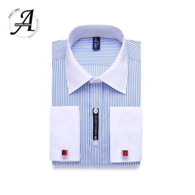 9XL 7XL 6XL Striped Men French Cufflinks Casual Dress Shirt Long Sleeved White Collar Design Style Mens French Cuff Dress Shirts - Y O L O Fashion Store
