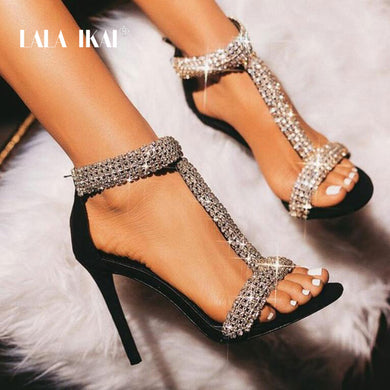 LALA IKAI Sexy Rhinestone Sandals Women High Heels Crystal Zipper Summer Party Wedding Shoes Thin Heels Sandalie 014C3309-4