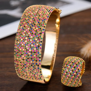 GODKI Wide Luxury Tennis Bangle Ring Sets Jewelry Sets For Women Crystal CZ   2019 - Y O L O Fashion Store