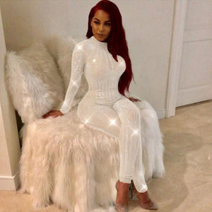 Women Mock Neck Jumpsuit Sequin Rhinestone Diamonds Jumpsuits Long Sleeve Skinny Bodysuits Clubwear Party One Piece Romper White - Y O L O Fashion Store