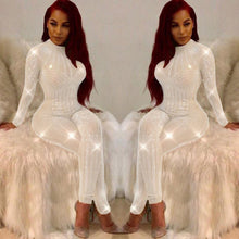 Load image into Gallery viewer, Women Mock Neck Jumpsuit Sequin Rhinestone Diamonds Jumpsuits Long Sleeve Skinny Bodysuits Clubwear Party One Piece Romper White - Y O L O Fashion Store
