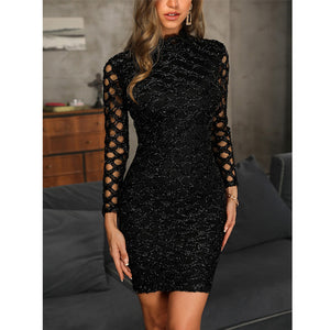 Spring 2019 Women Dress Evening Gown Black Long Sleeve Sexy Elegant Lady Bodycon Hollow A-line Short Dresses Party Night Summer - Y O L O Fashion Store