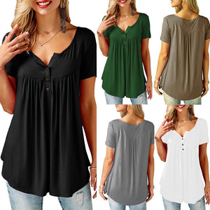 Womens Casual Short Sleeve Loose T-Shirts Solid Color Button Pleated Tunic Tops v-neck female pullover tops summer clothes - Y O L O Fashion Store