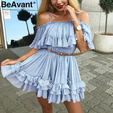 Load image into Gallery viewer, BeAvant Off shoulder strap chiffon summer dresses Women ruffle pleated short dress pink Elegant holiday loose beach mini dress - Y O L O Fashion Store