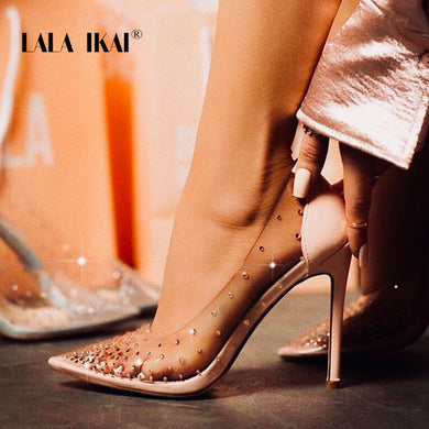 LALA IKAI Rhinestone Women Pumps Wedding Shoes Spring Summer High Heels PVC Sexy Party Shoes Chaussures Femme 014C3721-4