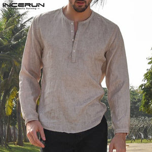 5XL Mens Linen Cotton Shirts Long Sleeve Button Crew Neck Solid Loose 2019 Autumn Dress Shirts Fashion Classic Male Clothes - Y O L O Fashion Store