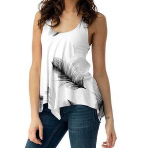 Plus Size 5XL Summer Tank Tops For Women 2019 Streetwear Feather Print Back Lace Up Sleeveless Top Tunic T Shirt Clothes Women