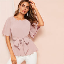 Load image into Gallery viewer, SHEIN Black Scallop Trim Belted Solid Blouse Top 2019 Summer Office Lady Elegant Flounce Sleeve Workwear Women Blouses and Tops
