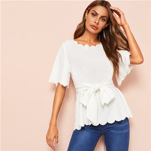 SHEIN Black Scallop Trim Belted Solid Blouse Top 2019 Summer Office Lady Elegant Flounce Sleeve Workwear Women Blouses and Tops