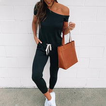 Load image into Gallery viewer, VIEUNSTA Off Shoulder Lace-up Pockets Sexy Jumpsuit Women Short Sleeve One Piece Outfit Streetwear Rompers Summer Beach Overalls - Y O L O Fashion Store