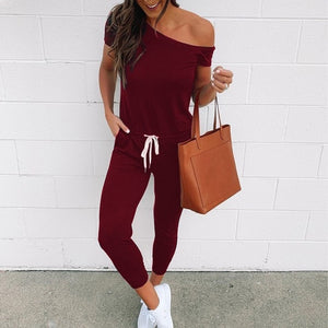 VIEUNSTA Off Shoulder Lace-up Pockets Sexy Jumpsuit Women Short Sleeve One Piece Outfit Streetwear Rompers Summer Beach Overalls - Y O L O Fashion Store