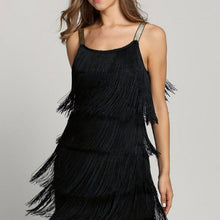 Load image into Gallery viewer, Tassel Dress Women Sexy Summer Flapper Beach Dress Strap Low Cut Black Silver White Short Fringe Party Dresses A-005
