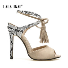 Load image into Gallery viewer, LALA IKAI Sandals Women High Heels Summer Sexy Peep Toe Party Shoes Lace-Up Fringe Flock Thin Heels Sandalie 014C3794-4