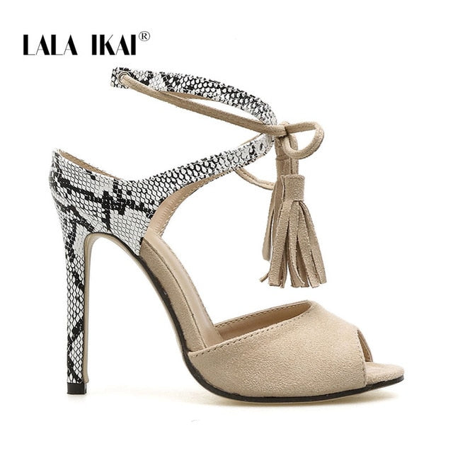 LALA IKAI Sandals Women High Heels Summer Sexy Peep Toe Party Shoes Lace-Up Fringe Flock Thin Heels Sandalie 014C3794-4
