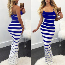Load image into Gallery viewer, 2019 Hirigin New Women Summer Sexy Striped Slim Dress Off Shoulder Casual Bandage Bodycon Evening Party Long Maxi Dress Skinny