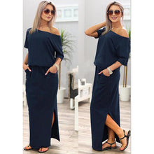 Load image into Gallery viewer, Hot Sale Women Boho Maxi Dress Sexy Summer Short Sleeve Side Slit Loose Evening Party Long Beach Dress with Pocket Vestidos - Y O L O Fashion Store
