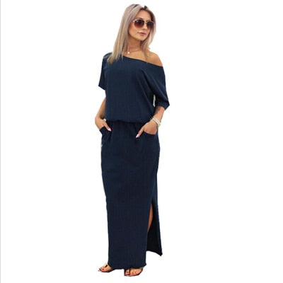 Hot Sale Women Boho Maxi Dress Sexy Summer Short Sleeve Side Slit Loose Evening Party Long Beach Dress with Pocket Vestidos - Y O L O Fashion Store