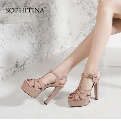 SOPHITINA Fashion Waterproof Platform Sandals Comfortable High Quality Cow Leather Woman Shoes Hot Sale Thick Heel Sandals MO171