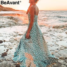 Load image into Gallery viewer, BeAvant Bohemian sexy v-neck dot print maxi dress women Elegant spaghetti strap button dress Summer beach long dress female
