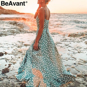 BeAvant Bohemian sexy v-neck dot print maxi dress women Elegant spaghetti strap button dress Summer beach long dress female