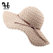 Load image into Gallery viewer, FURTALK Summer Hat for Women Cotton Straw Hat Beach Sun Hat Foldable Floppy Travel Packable Wide Brim Sun Protection Cap 2019 - Y O L O Fashion Store