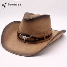 Load image into Gallery viewer, Fibonacci 2018 New Top Quality West Cowboy Hat Fashion Faux Leather Metal Bull Head Decoration Sombrero Western Men Women Cap - Y O L O Fashion Store