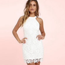 Load image into Gallery viewer, Womens Mini Dress White Elegant Wedding Party Sexy Night Club Halter Neck Sleeveless Sheath Bodycon Lace Dress