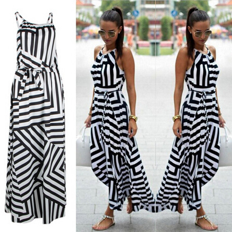 Summer Maxi Long Dress New Fashion Women Sexy Boho Striped Sleeveless Beach Style Strap Sundress Vestidos For Female Bigsweety - Y O L O Fashion Store