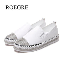 Load image into Gallery viewer, European Famous Brand Patchwork Espadrilles Shoes Woman Genuine Leather Creepers Flats Ladies Loafers White Leather Moccasins