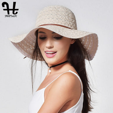 FURTALK Summer Hat for Women Cotton Straw Hat Beach Sun Hat Foldable Floppy Travel Packable Wide Brim Sun Protection Cap 2019 - Y O L O Fashion Store