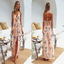 Load image into Gallery viewer, 2019 Women Dress Summer Sexy Boho Maxi Long Dress Beach Dresses Sundress Print Floral Halter Vestido V Neck  Evening Party - Y O L O Fashion Store