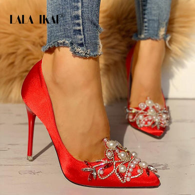 LALA IKAI High Heels Pearls Beaded Satin Shoes Women Pumps Pointed Toe Flock Wedding Shoes Flower Red Party Pumps 014C0669-4