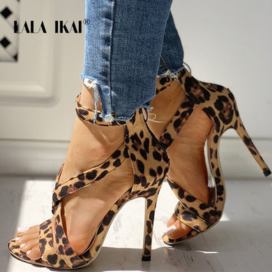 LALA IKAI  High Heels Leopard Shoes Women Pumps Peep Toe High-Heeled Sandals for Banquet Parties 014C3894-4