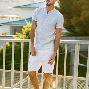 UK Men's Linen Short Sleeve Summer Solid Shirts Casual Loose Dress Soft Tops Tee - Y O L O Fashion Store