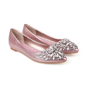2019 New Women Flat shoes Shiny Crystal Ballet Shoes Pointy Toe Bling Rhinestone Flats Pink Silver Casual shoes Women Footwear - Y O L O Fashion Store