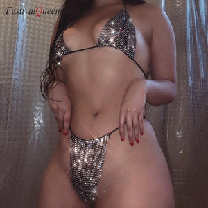 FestivalQueen Sexy Hollow Out Rhinestone Sequin Bra Set Women 2019 Fashion Halter High Cut Two Piece Lingerie Underwear Bra Sets - Y O L O Fashion Store