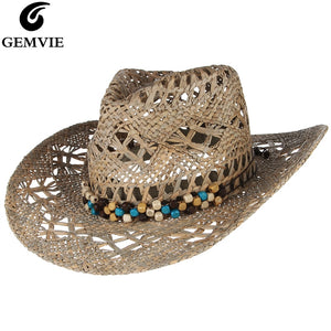 GEMVIE New Straw Western Cowboy Hat For Women Cowgirl Summer Hats For Lady Sun Hat With Leather Beaded Belt Beach Cap Panama - Y O L O Fashion Store
