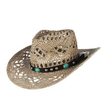 Load image into Gallery viewer, GEMVIE New Straw Western Cowboy Hat For Women Cowgirl Summer Hats For Lady Sun Hat With Leather Beaded Belt Beach Cap Panama - Y O L O Fashion Store