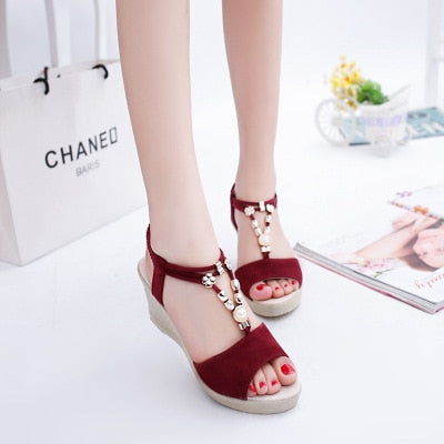 Women Wedges Sandals 2019 Summer Platform Shoes Woman Open Toe Slip On Sandal String Bead Female Fashion High Heels Casual Shoes