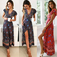 Load image into Gallery viewer, Women Boho V Neck Slim Waist arrival Sexy Long Maxi Dress Summer Beach Hot Party Floral Printed Sundress 2019
