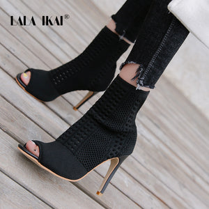 LALA IKAI Women Winter PU  Black Ankle Boots Square Toe Med Heel Ladies Bootie Open toe Pumps Shoes XWC3939-4