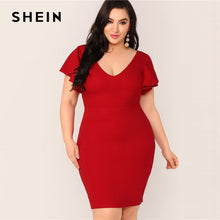 Load image into Gallery viewer, SHEIN Plus Size Red Zip Back Ruffle Trim Bodycon Dress 2019 Women Summer Elegant Butterfly Sleeve Slim Pencil V neck Plus Dress - Y O L O Fashion Store