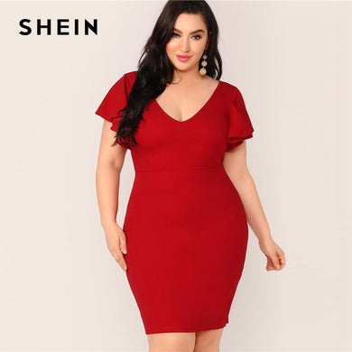 SHEIN Plus Size Red Zip Back Ruffle Trim Bodycon Dress 2019 Women Summer Elegant Butterfly Sleeve Slim Pencil V neck Plus Dress - Y O L O Fashion Store