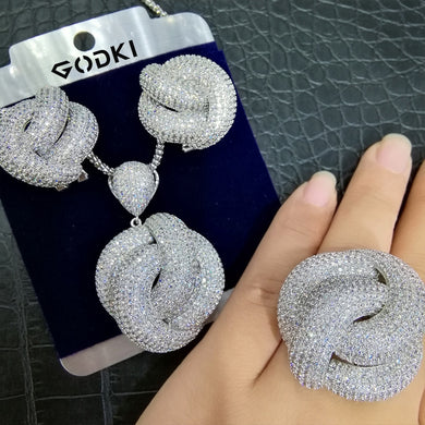 GODKI  Luxury 3PCS Ring Necklace Earring Sets Cubic Zircon Crystal Jewelry Set For Women Wedding Indian Dubai Bridal Jewelry Set - Y O L O Fashion Store